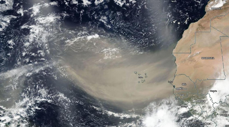On June 18, 2020, NASA-NOAA's Suomi NPP satellite captured this visible image of the large light brown plume of Saharan dust over the North Atlantic Ocean. The image showed that the dust from Africa's west coast extended almost to the Lesser Antilles in the western North Atlantic Ocean. Credits: NASA Worldview