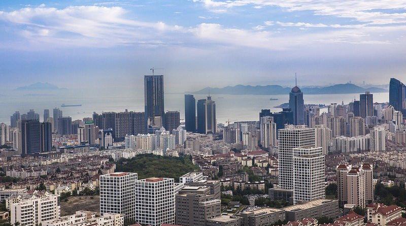 China Qingdao The Sea Beach City Wide Angle