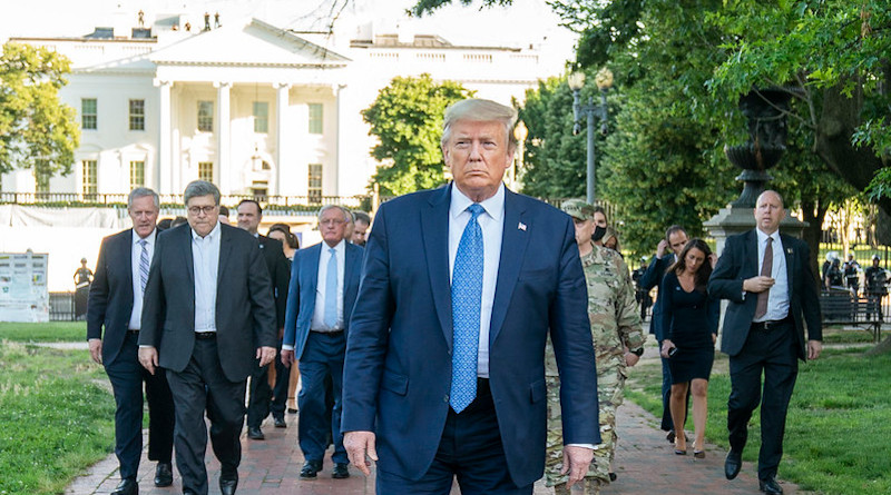 President Donald J. Trump walks from the White House Monday evening, June 1, 2020, to St. John's Episcopal Church, known as the church of Presidents's, that was damaged by fire during demonstrations in nearby LaFayette Square Sunday evening. (Official White House Photo by Shealah Craighead)