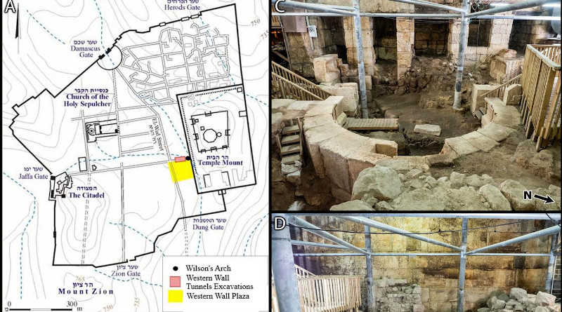 Wilson's Arch excavation area. (A) Map of the old city of Jerusalem and the location Wilson's Arch. Copyrights: Israel Antiquities Authority, 2020. (B) An artistic reconstruction of the Temple Mount in the time of Herod the Great (1st century AD). The arrow points to the arch known today as Wilson's Arch. Copyrights: Ritmeyer Archaeological Design, 2020. (C,D) Photographs of the site. The scale bar in D is 1 meter in length. (E,F) A 3D reconstruction of the site. As the site is under constant renovations, a model is used here to illustrate the location of the various features and strata. A section drawing of strata 1,4,5 was imposed on the Western Wall to illustrate their relative position. CREDIT: Regev et al, 2020 (PLOS ONE, CC BY 4.0)
