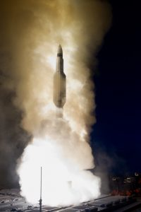 Standard Missile-3 Block 1B interceptor missile launches from USS Lake Erie during Missile Defense Agency and U.S. Navy test in mid-Pacific, May 2013 (U.S. Navy)