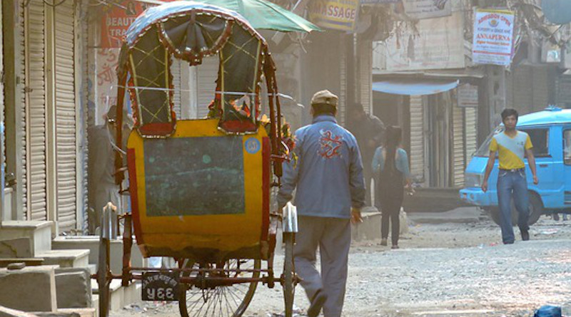 Nepal Kathmandu Street Scene Morning Cart Street