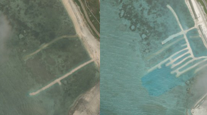 These satellite images, taken on April 17 and June 25, 2020, show a section of Woody Island, in the Paracel chain. Dredging is visible by the discoloration of the water and new sand structures built up nearby. Photo Credit: PlanetLabs Inc, Benar News