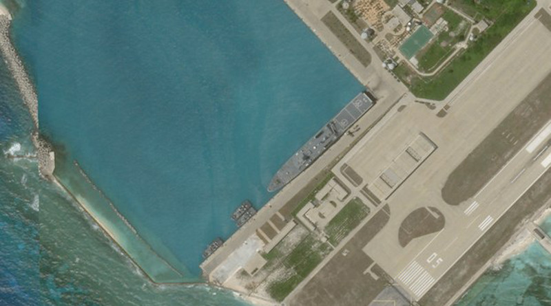 Satellite imagery shows what appears to be an amphibious assault transport ship of the Chinese Navy docked at Woody Island in the South China Sea, June 27, 2020. Photo Credit: PlanetLabs Inc / Benar News