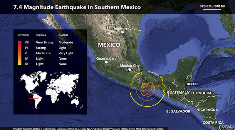 Mexico earthquake locator map. Photo Credit: VOA