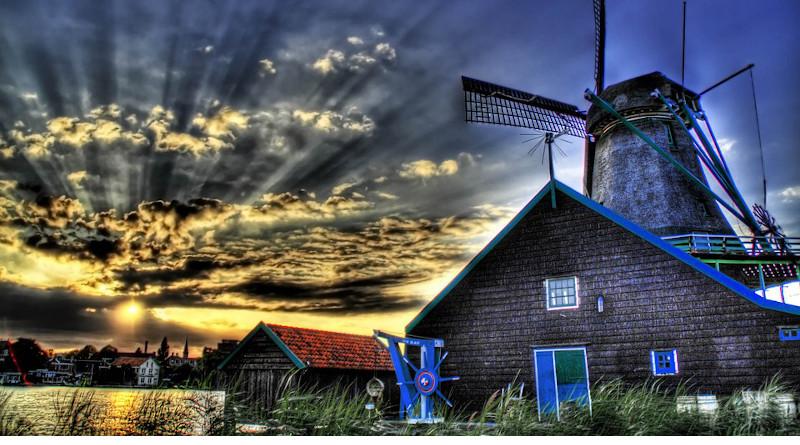 Europe Windmill Farmhouse House Wow Farm Landscape Countryside