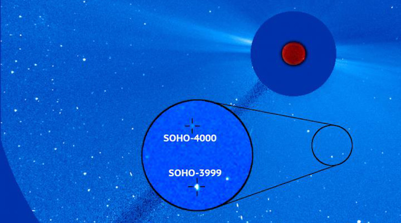 Courtesy Photo | The 4,000th comet discovered by ESA (European Space Agency) and NASA's SOHO observatory is seen here in an image from the spacecraft alongside SOHO's 3,999th comet discovery. The two comets are relatively close at approximately 1 million miles apart, suggesting that they could have been connected together as recently as a few years ago. CREDIT: ESA/NASA/SOHO/Karl Battams