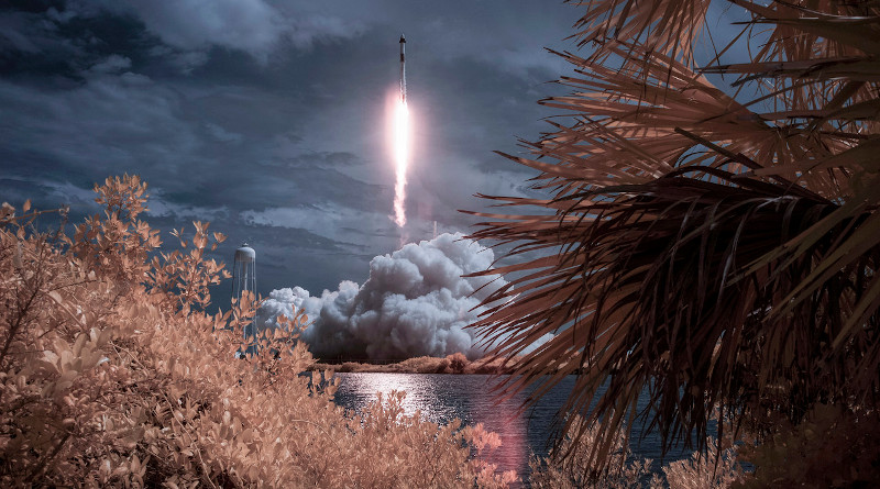 A SpaceX Falcon 9 rocket carrying NASA astronaut and retired Marine Corps Col. Douglas Hurley and fellow crew member Robert Behnken is seen launching from Kennedy Space Center in Cape Canaveral, Fla., May 30, 2020. Photo Credit: Bill Ingalls, NASA