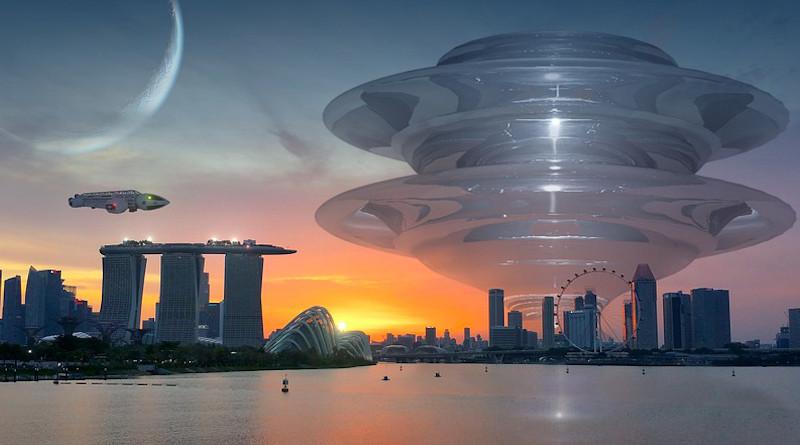 Science Fiction Fantasy City Forward Building Atmospheric Evening