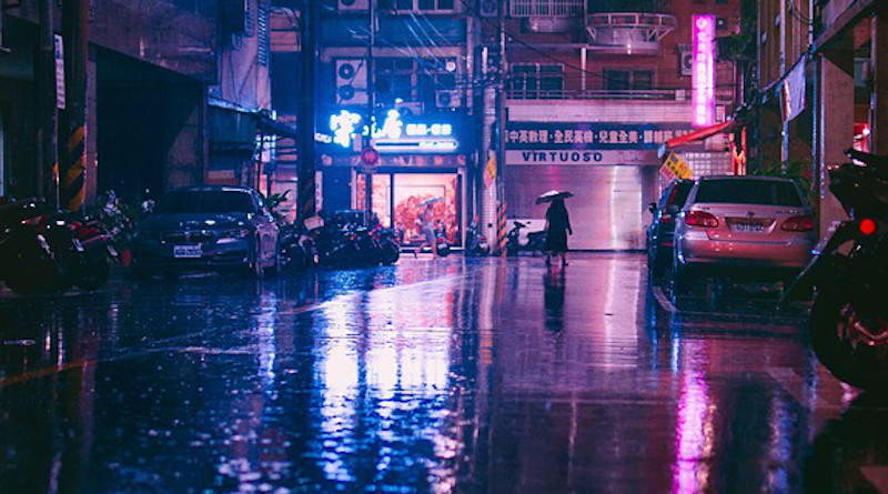 Monsoon Asia Rain Street Illumination Umbrella Water