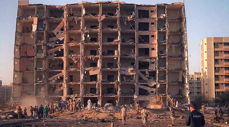 Khobar Towers bombing in Dhahran, Saudi Arabia. On June 25, 1996, a terrorist truck bomb exploded outside the northern perimeter of the U.S. portion of the Khobar Towers housing complex. The explosion killed nineteen servicemen and wounded hundreds of others, including civilians of several nationalities. Credit: DoD photo