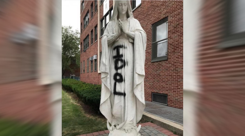 Statue of Mary outside Cathedral Prep School and Seminary, Queens, New York. Credit: Diocese of Brooklyn