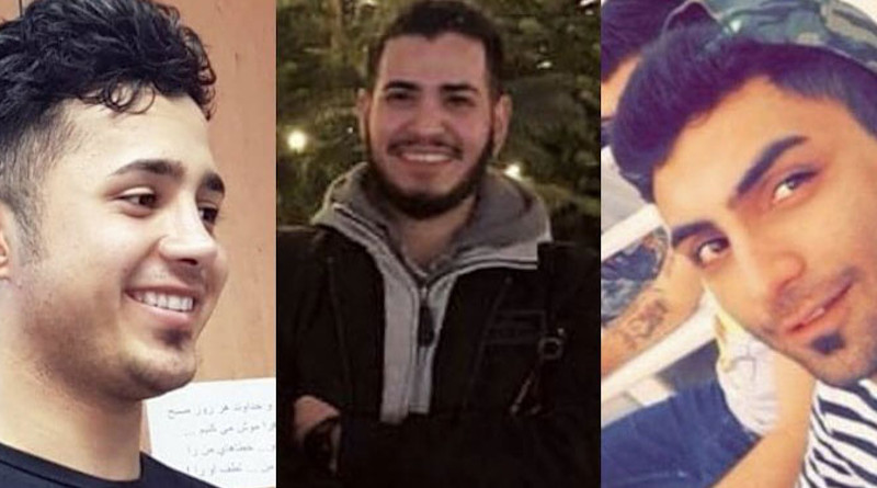 Iran Judiciary confirms death sentence for protesters. From left to right: Saied Tamjidi, Amir Hossein Moradi, Mohammad Rajabi. Photo Credit: Iran News Wire