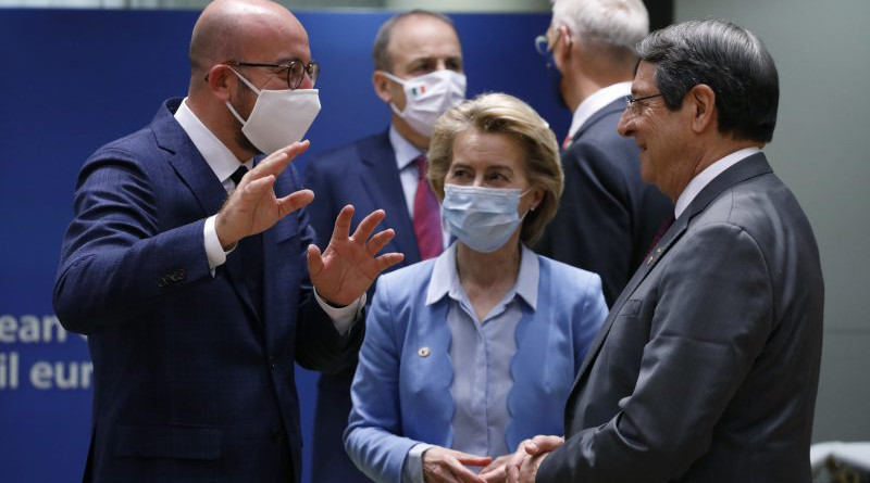 Council President Charles Michel (L) talks with fellow EU leader Ursula von der Leyen (C) and Cypriot President Nicos Anastasiades. [Photo: European Council]
