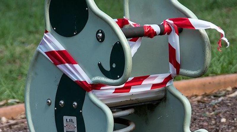 Coronavirus Covid-19 Toy Taped Off Playground Children Closed Sad