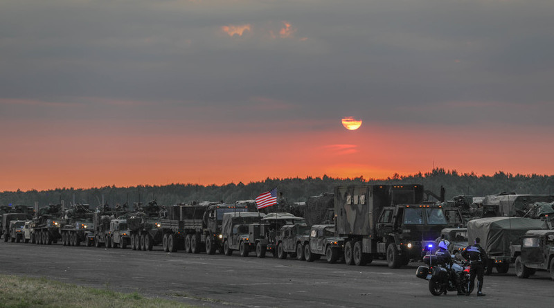 Strykers and military support vehicles belonging to the U.S. Army's 3rd Squadron, 2nd Cavalry Regiment stage for departure from Sochazcew, Poland, for their return to Germany, June 18, 2018. Photo Credit: Army 1st Lt. Ellen Brabo