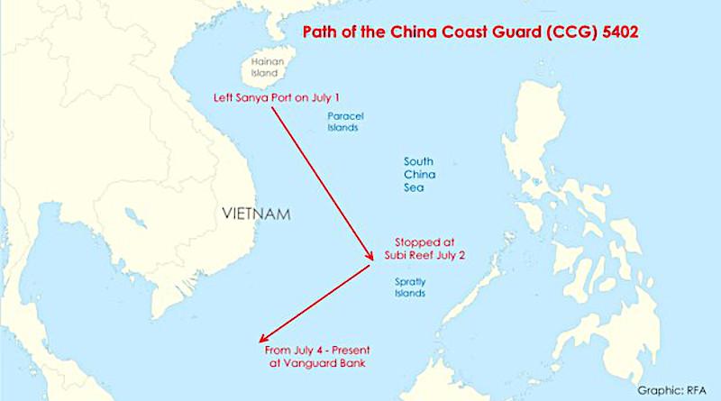 This chart shows the path of China Coast Guard ship 5402. Credit: Minh-Ha Le/RFA