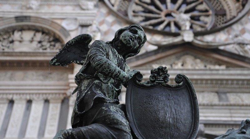 Italy Bergamo Statue Angel Lombardy Bergamo Alta