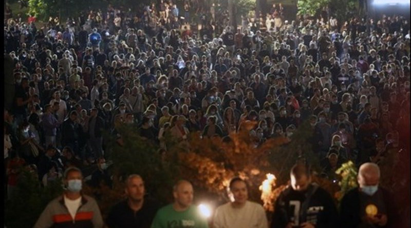 Thousands of protesters in Serbia try to storm the parliament building in Belgrade after government announces new COVID-19 lockdown. Photo Credit: Tasnim News Agency