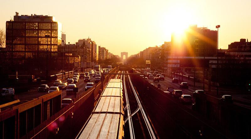 Traffic Paris Street Twilight Evening Sunset Dusk
