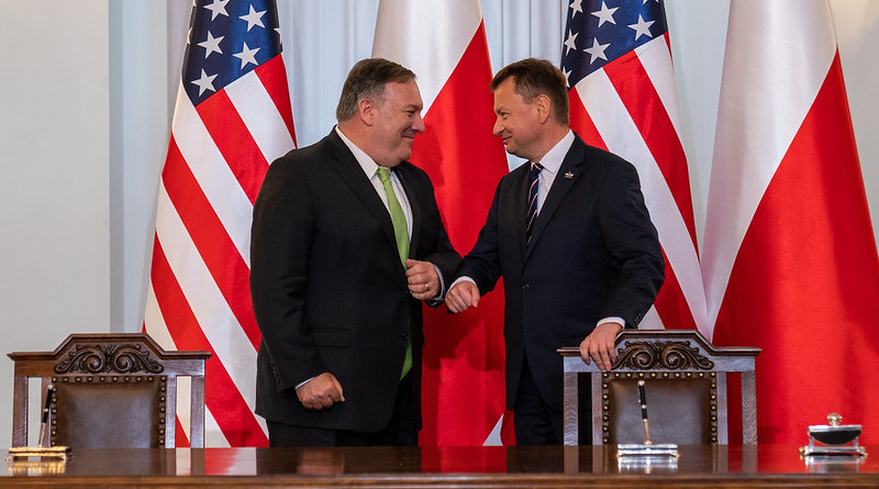 Secretary of State Michael R. Pompeo participates in a U.S.-Poland Enhanced Defense Cooperation Agreement Signing Ceremony with Polish President Andrzej Duda and Polish National Defence Minister Mariusz Błaszczak, in Warsaw, Poland, on August 15, 2020. [State Department photo by Ron Przysucha/ Public Domain]