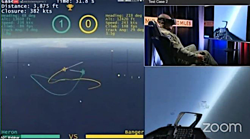 Images of an artificial intelligence (AI) algorithm beating a seasoned human aviator in a series of simulated dogfights. Photo Credit: DARPA, Twitter