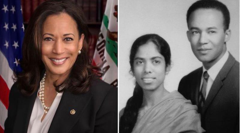 Collage of pictures (left) of Senator Kamala Harris, official US Senate photo (Source: Wikimedia) and (right) her parents, Shyamala Gopalan and Donald Harris. (Source: San Jose Mercury News via IDN).