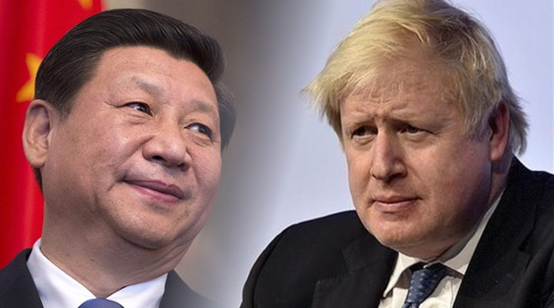 China's Xi Jinping and UK's Boris Johnson