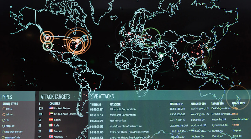 Real-time cyberattacks are displayed on screen at the 275th Cyberspace Squadron's operations floor, Middle River, Md., Dec. 2, 2017. Photo Credit: J.M. Eddins Jr., Air Force