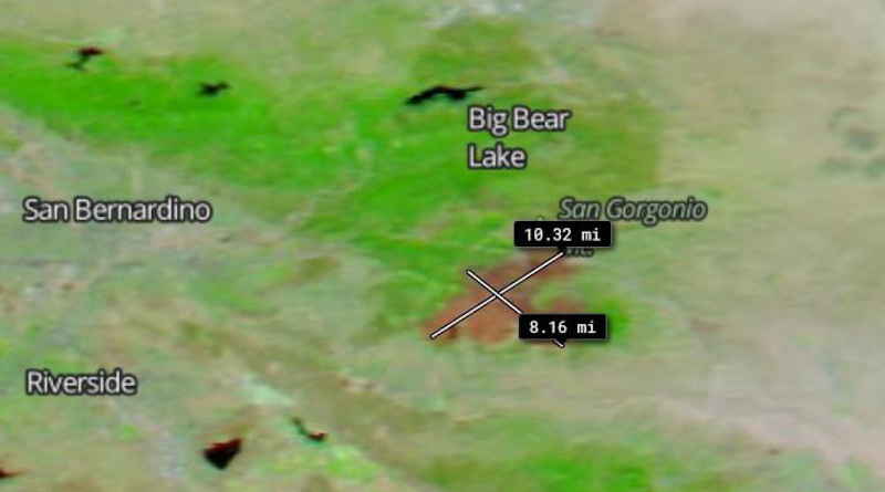 The measurement tool on the Worldview app was used to show the size of the burn scar. Using the tool, the scar was measured to be approximately 10.32 miles long and 8.16 miles wide. CREDIT: NASA Worldview