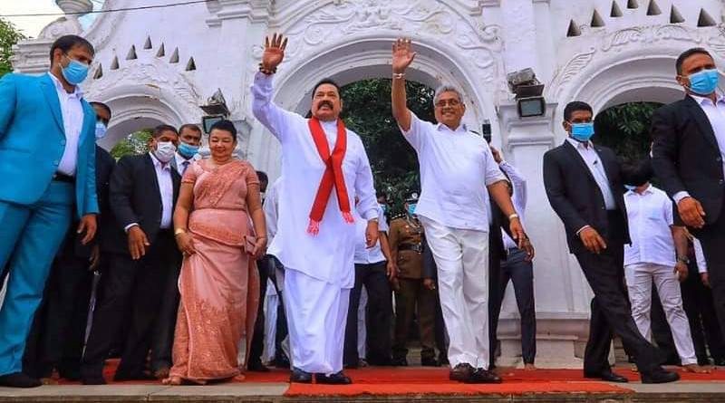 Sri Lanka's Mahinda Rajapaksa (left), Prime Minister and brother of President Gotabaya Rajapaksa (right). Photo Credit: Sri Lanka government