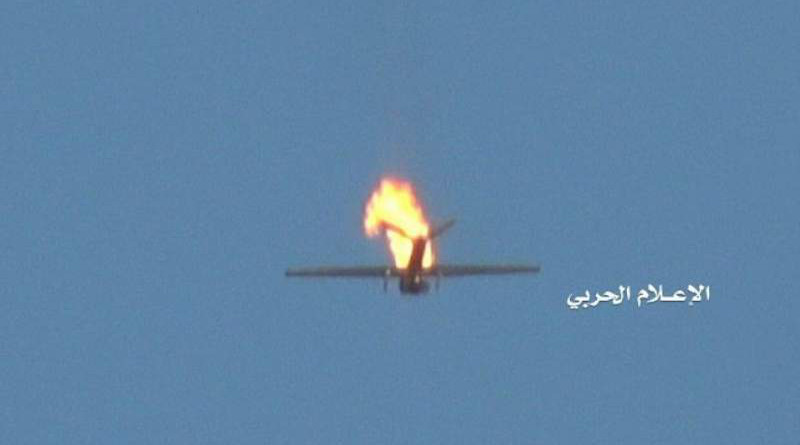 Houthis say they have downed a small US RQ20 spy drone over the Jizan region. Photo Credit: al-Masirah