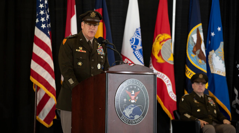 Army Gen. James H. Dickinson, newly appointed commander of U.S. Space Command, addresses attendees during the change-of-command ceremony at Peterson Air Force Base, Colo. Aug. 20, 2020. Photo Credit: Lewis Carlyle, DOD