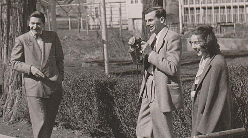 Robie Macauley with Arthur Koestler and Flannery O'Connor at Amana Colonies in Iowa, 9 Oct 1947. Photo Credit: Charles Cameron Macauley, Wikimedia Commons