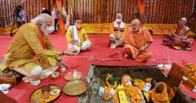 India's Prime Minister Narendra Modi performing Bhoomi Pujan at Shree Ram Janmabhoomi Mandir, in Ayodhya, Uttar Pradesh on August 5, 2020. Photo Credit: India PM Office