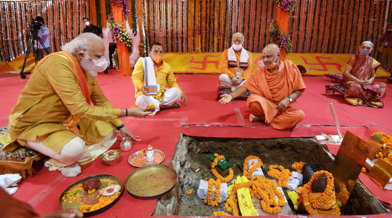 India's Prime Minister Narendra Modi performing Bhoomi Pujan at Shree Ram Janmabhoomi Mandir, in Ayodhya, Uttar Pradesh on August 5, 2020. Photo Credit: India PM Office