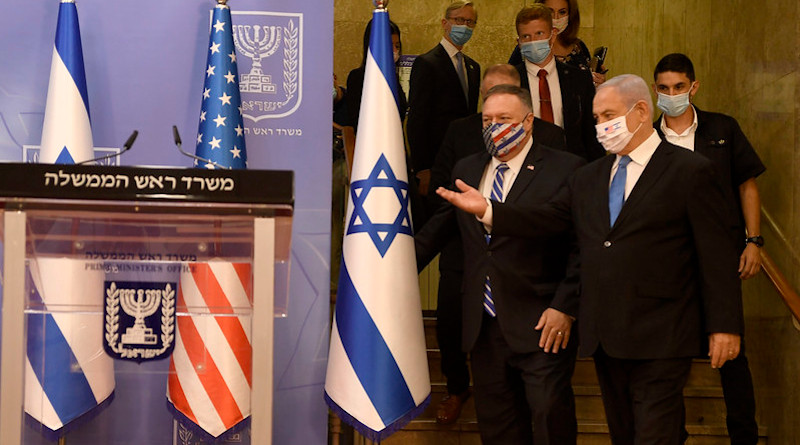 Secretary of State Michael R. Pompeo and Israeli Prime Minister Benjamin Netanyahu prepare to deliver statements to the press at the Israeli Prime Minister's Office in Jerusalem, Israel, on August 24, 2020. [U.S. Embassy Jerusalem photo by Matty Stern/ Public Domain]