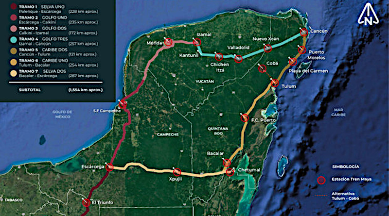 A map of the Mayan Train's route through the Yucatan Peninsula in Mexico. Construction began in May and it is expected to begin operating in 2023. CREDIT: Fondo Nacional de Fomento al Turismo (Fonatur)