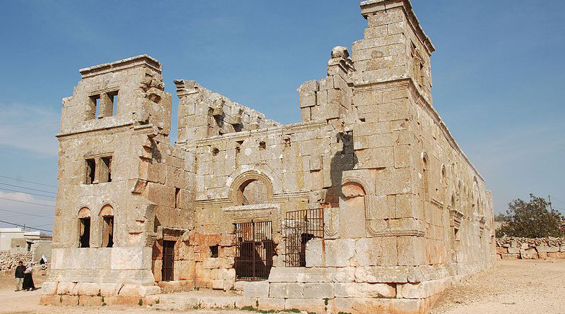 The basilica at Qalb Loze in Idlib, Syria. Photo Credit: Bertramz, Wikipedia Commons