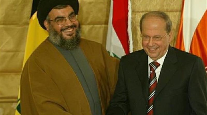File photo of Hezbollah leader Hassan Nasrallah and President Michel Aoun, Beirut, Lebanon. Photo Credit: Tasnim News Agency