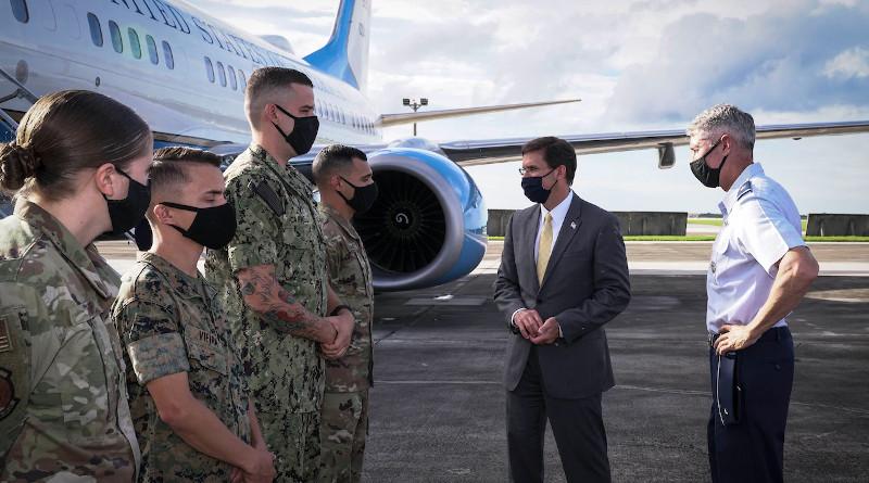 Defense Secretary Dr. Mark T. Esper arrives at Andersen Air Force Base, Guam, to conduct a bilateral engagement with Japanese Defense Minister Taro Kono, Aug. 29, 2020. Photo Credit: Air Force Master Sgt. Richard P. Ebensberger
