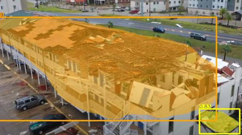 Drone video of damage from Hurricane Laura in Lake Charles, LA, was processed automatically by a Carnegie Mellon University system. Areas bounded in orange are considered severely damaged, while those in yellow are slightly damaged. CREDIT: Carnegie Mellon University