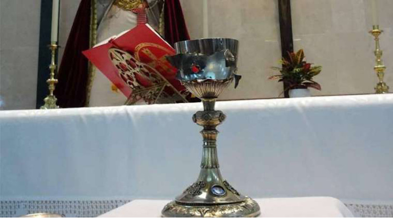 Chalice desecrated by Islamic State. Credit: Diocese of Malaga, Spain.