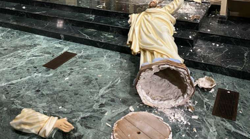 Statue of Christ damaged in St. Patrick's Cathedral, El Paso. Credit: Diocese of El Paso