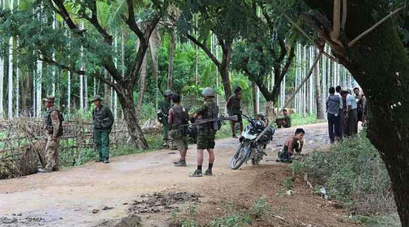Tatmadaw soldiers patrol in Myanmar. Photo Credit: DMG