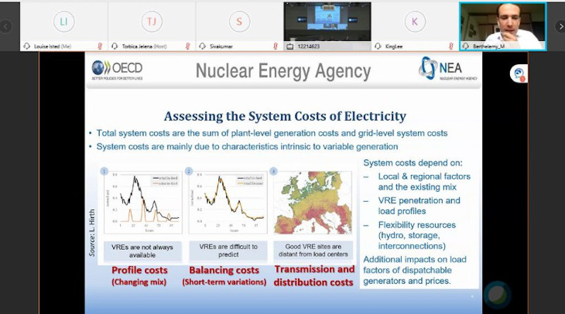 NEA nuclear energy analyst Michel Berthélemy speaking at the UNECE session on nuclear