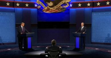 Screenshot of debate between Republican US President Donald Trump and Democratic challenger, former Vice President Joe Biden.