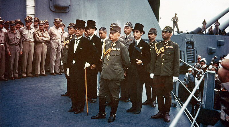 Representatives of the Empire of Japan stand aboard USS Missouri prior to signing of the Instrument of Surrender. Photo Credit: Army Signal Corps, Wikipedia Commons