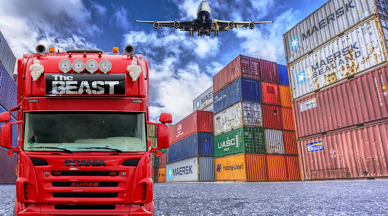 Chain Trade Logistics Truck Container Plane Shipping Supply