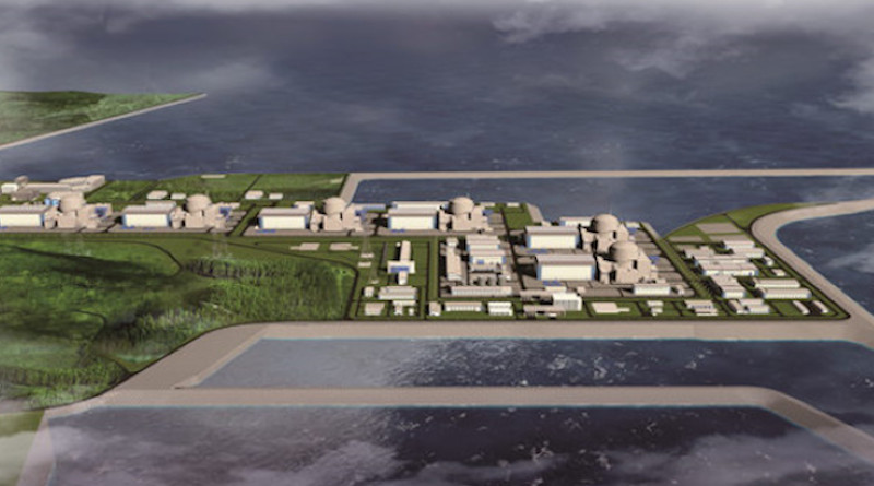 An artistic impression of how the Zhangzhou plant would look with six Hualong One reactors (Image: National Nuclear Safety Administration)
